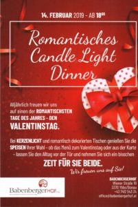 ROMANTISCHES CANDLE LIGHT DINNER @ Babenbergerhof