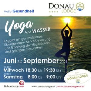 Yoga am Abend mit Rosa in der Donau Lodge